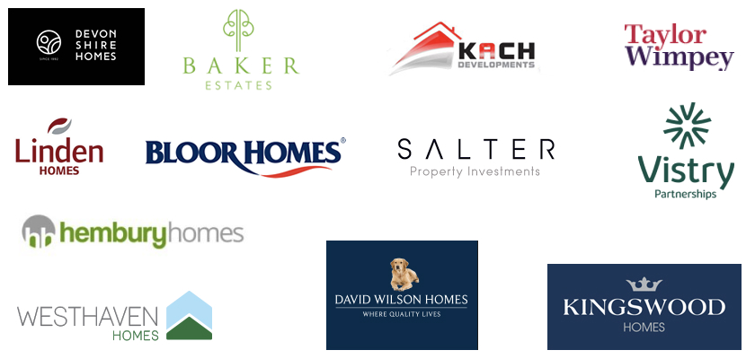 Our clients include Devonshire homes, Charles Church, Redrow, Linden Homes, David Wilson Homes, MH Millwood Homes, Persimmon, Galliford Try